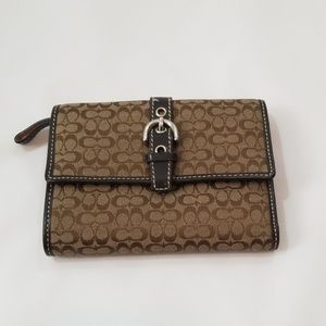 "Coach Signature Small ""c"" Brown Wallet"